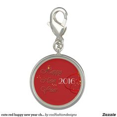 cute red happy new year charm