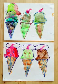 Wayne Thiebaud Inspired Easy Crafts For Kids - The Sweeter Side of Mommyhood Preschool Art Lessons, Process Art Preschool, Preschool Crafts, Preschool Ideas, Ice Cream Theme, Wayne Thiebaud, Easy Crafts For Kids, Teaching Art, Famous Artists