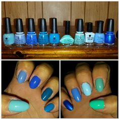 All my blues and a few almost greens. All polishes are in order left to right.