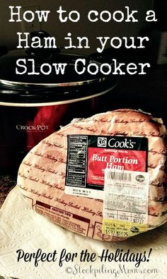 TRIED- yum so tender. The next day I heated it up in the crockpot and it was as good as day Here are step by step directions on How to cook a Ham in your Slow Cooker, which is perfect for Christmas or any other holiday! Slow Cooking, Cooking Ham In Crockpot, Crock Pot Food, Crockpot Dishes, Crock Pot Slow Cooker, Pork Dishes, Slow Cooker Recipes, Cooking Recipes, Crockpot Meals