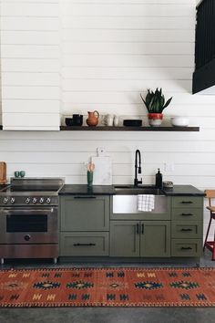 Olive green cabinents.