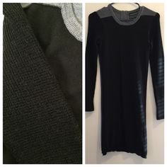⚡️SALE⚡️ Long sleeved black & grey sweater dress This dress is so cute and super cozy! It has textured long sleeves, black front and grey back with a super cute zipper detail! Cynthia Rowley Dresses Midi