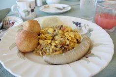 Jamaican Breakfast - Although it looks like eggs, this is actually akee and saltfish, a typical breakfast food in Jamaica. Akee is a type of vegetable that looks like eggs when cooked. It can also be highly poisonous if handled incorrectly.