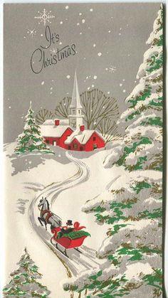 VINTAGE CHRISTMAS RED WHITE CHURCH HORSE SLEIGH GRAY SKIES SNOWFLAKES SNOW CARD | eBay