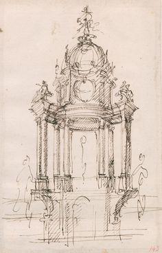 Schizzo per il ciborio dell'altare maggiore della cappella di Sant'Uberto alla Venaria Reale, 1721 circa
