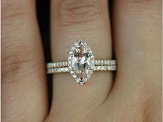 Rosados Box Sasha 10x5mm 14kt Rose Gold Marquise Morganite and Diamonds Halo Wedding Set