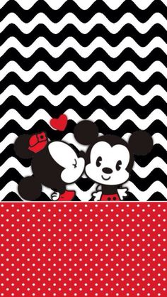 Kawaii Mickey and Minnie Background