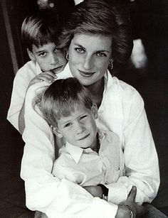 Princess Diana with her sons, Princes William and Harry