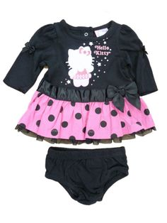 Hello Kitty Infant Girls Black & Pink Polka Dot Ruffled Lace Dress Outfit 0-3m. Pretty Hello Kitty Black & Pink Polka Dot Ruffled Dress Outfit. Infant Sizes.