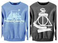 Best jumpers ever the first one (blue one) is like the Disney castle but Hogwarts version and the second one (black one) is the deathly hallow symbol duhh