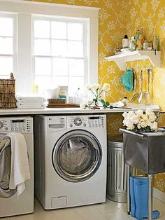 "This is another post in my ""My Dream Home"" series: laundry room design on a budget. Here are 8 DIY examples of pretty laundry room ideas anyone can create. Yellow Laundry Rooms, Small Laundry Rooms, Laundry Room Design, Yellow Rooms, Yellow Walls, Laundry Area, Laundry Table, Cottage Living Rooms, Home Living"