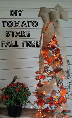 Thanksgiving Tree, Thanksgiving Decorations, Tomato Cage Crafts, Tomato Cages, Tomato Tree, Fall Topiaries, Holiday Crafts, Holiday Decor, Diy Autumn Crafts