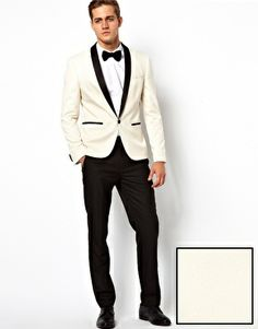 $173 slim fit tux about the same as renting and you can tailor to your body! ASOS+Slim+Fit+Tuxedo+Suit+White+Jacket+Black+Trouser