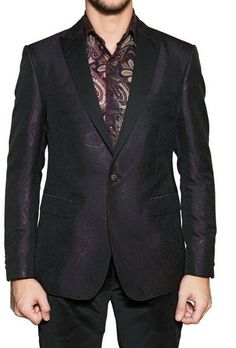 Etro Purple Satin Revere Silk Jacquard Tuxedo Jacket