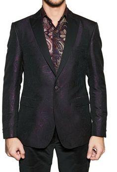 Etro Purple Satin Revere Silk Jacquard Tuxedo Jacket