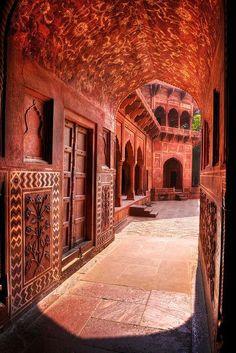 Red Sandstone Archway - India Mughal Architecture, Ancient Architecture, Beautiful Architecture, Beautiful Buildings, Modern Buildings, Architecture Design, Goa India, Taj Mahal India, Delhi India