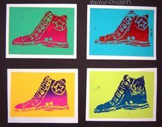 andy warhol shoe this is the printmaking use foam plate print on brightly