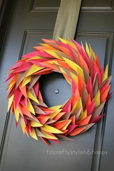 Fall leaf wreath made from construction paper!