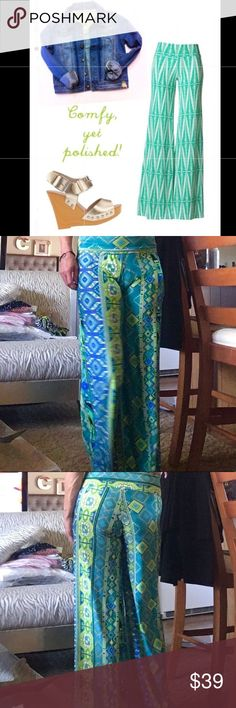 🌴GRAPHIC HIGH WAISTED FOLD OVER PALAZZO PANTS🌴 🌴GORGEOUS NWOT WIDE LEG STRETCH PALAZZO PANTS. COOL & GRAPHIC DESIGN IN GREEN, BLUE, WHITE & BLACK. FOLD OVER WAIST THAT CAN BE WORN HIGH WAISTED TOO DUE TO FITTED BAND. PURCHASED AT HIGH END BOUTIQUE IN CINCINNATI. THESE ARE SCULPTING AND BEAUTIFULLY FLOW WHEN YOU WALK. THESE ARE MUCH HIGHER QUALITY THEN NOVELLA ROYALE, FREE PEOPLE, SPELL & SMYMM. LISTED FOR VIEWS. SIZE SMALL AND BEST FITS 4-8. RETAIL $118🌴 Free People Pants Wide Leg