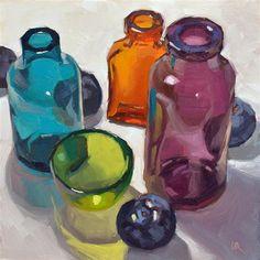 """Glass and plums"" - Original Fine Art for Sale - © Lena  Rivo"