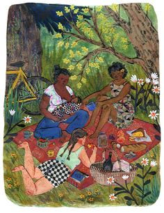 """""""Picnic"""" Phoebe Wahl 2015. Watercolor, collage, colored pencil on canvas. This piece will be part of the show """"Threads"""" at Smith & Vallee Gallery in Edison, WA. Which opens this Saturday, March 7th,..."""