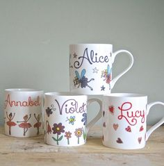 Ballerina, hearts, fairies and flower design child's personalised mugs