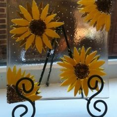 Blue Fairy Designs sunflowers fused glass bowl by annabelle