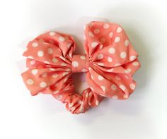 SALE 50% OFF Pink and White Polka Dot Bow Hair Scrunchie Ponytail Holder