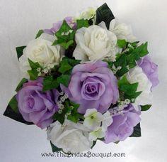 """Lavender, Ivory Silk Rose Nosegay"" - Wedding Bouquet (My Bridesmaid's Bouquets)"