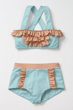 DIY FREE Vintage Retro Style Bikini Sewing Pattern and Tutorial - How to make a Swimsuit / Bathing Suit with High-Waisted Bottom and Ruffles