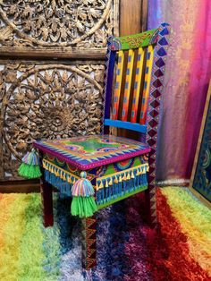 Arts And Crafts, Diy Crafts, Macrame Design, Painted Furniture, Dining Chairs, Boutique, Boho, Projects, Painting