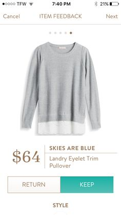 RETURNED. Stitch Fix Sept 2016 - Skies are Blue - Landry Eyelet Trim Pullover. Liked the style but thought the knit and lace looked cheap.
