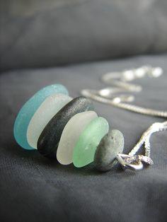 Sea Stack beach pebble and sea glass necklace in aqua, green and white by Sea Glass Designs