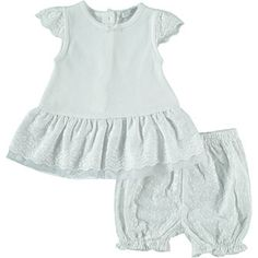 White Broderie Dress & Bloomers Set
