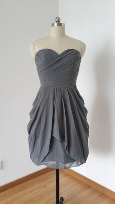 2015 Sweetheart Charcoal Grey Chiffon Short Bridesmaid Dress