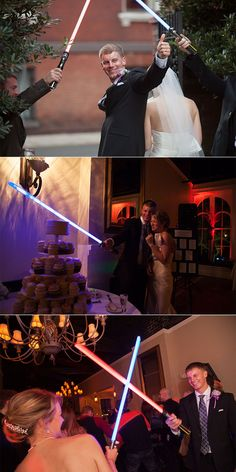 Star Wars Wedding! Light sabers for the ceremony recessional, the cake cutting, and on the dance floor! And the recessional was to the Star Wars Theme of course.