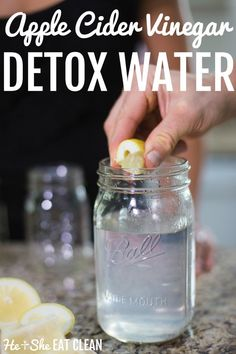 This tastes AMAZING! This Apple cider vinegar detox drink helps cut down on bloating because of the combination of the lemon and apple cider vinegar. #ACV #detox #healthyrecipe