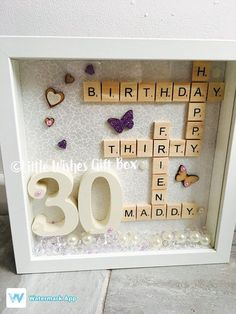 Birthday personalised box frame photo frame scrabble letters wooden numbers hand painted unique gift rnrnSource by woodendiy Scrabble Art, Scrabble Letters, Birthday Frames, Birthday Box, Grandpa Birthday, Brother Birthday, Birthday Wishes, Unique Birthday Gifts, Pom Poms
