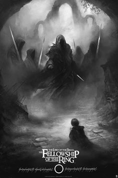 """""""The Fellowship of the Rings"""" van Karl Fitzgerald. 24 """"x 36"""" Zeefdruk. Ed van 150 N. $ 60 (variant)"""