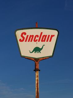 OH Fletcher, Sinclair sign, Scott Amus  Love this gas station logo...mostly because it's a dinosaur and gas is made from them.