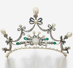 Belle Epoque diamond, emerald and pearl tiara