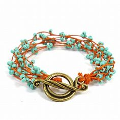 Coral Branches Bracelet Kit, using waxed linen with 8/0 seed beads.