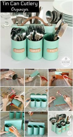 Tin Can Cutlery Organizer - 22 Genius DIY Home Decor Project .- Blechdose Besteck Organizer – 22 Genius DIY Home Decor Projekte, die Sie in … … Tin Cutlery Organizer – 22 Genius DIY Home Decor Projects You Can … can - Diy Home Decor Projects, Diy Home Crafts, Decor Ideas, Diy Ideas, House Projects, Diy Decorations For Home, Craft Ideas, Diy Décoration, Easy Diy