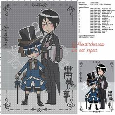 Ciel and Sebastian (The Black Butler) free cross stitch pattern 130x193 26 colors