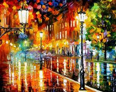 Street Of Illusions by Leonid Afremov Handmade oil painting reproduction on canvas for sale,We can offer Framed art,Wall Art,Gallery Wrap and Stretched Canvas,Choose from multiple sizes and frames at discount price. Oil Painting Texture, Oil Painting On Canvas, Canvas Wall Art, Painting Art, Knife Painting, Modern Impressionism, Oil Painting Reproductions, Colorful Paintings, Beautiful Paintings