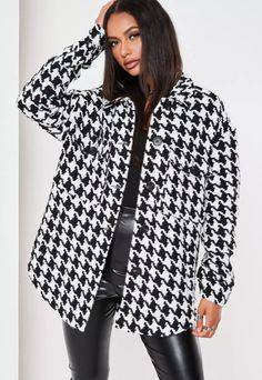 Black Houndstooth Brushed Back Oversized Shacket | Missguided Skinny, Missguided, Houndstooth, Blazer Jacket, Winter Outfits, Black And White, Coat, How To Wear, Jackets