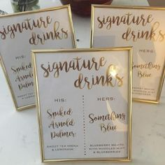 40 best wedding signature drink ideas from rockinchalk bar gold signature drink frames junglespirit Gallery