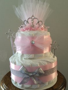 Pink Princess Crown Diaper Cake for baby shower centerpiece/unique baby gift - http://www.babyshower-decorations.com/pink-princess-crown-diaper-cake-for-baby-shower-centerpieceunique-baby-gift.html