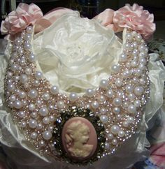 Bridal Wedding Pearl Cameo Soft Pink Necklace by abrushofwings, $34.95
