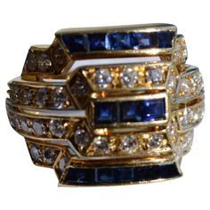 Beautiful 18K gold, Sapphire and Diamond Art Deco Cocktail Ring ~ from timberhillsantiques on Ruby Lane